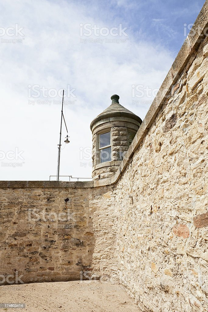Old Prison Wall and Guard Tower royalty-free stock photo