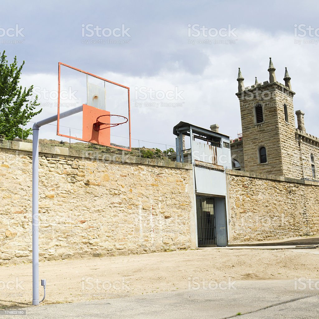 Old Prison Yard Basketball Court royalty-free stock photo