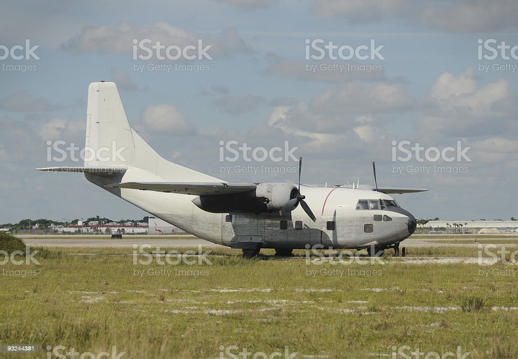 Old propeller airplane stock photo