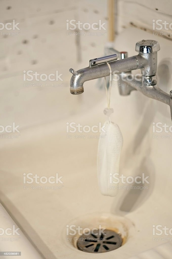 Old Provencal porcelain sink royalty-free stock photo