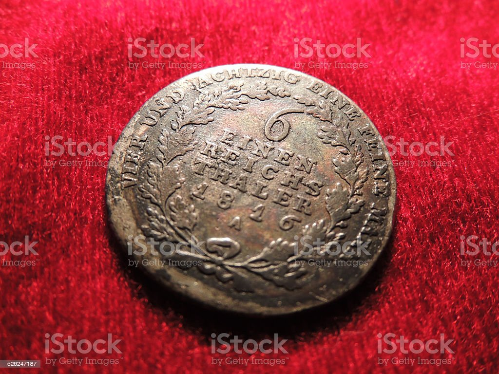 Old Prussian Silver Coin stock photo