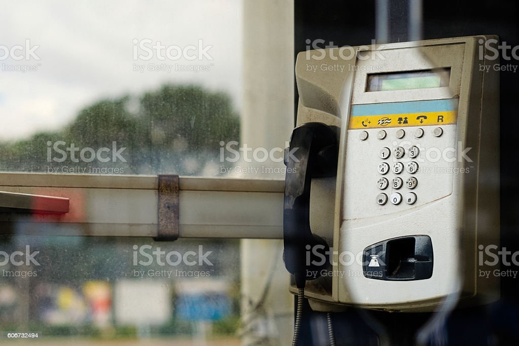 Old public phone booth in Madagascar stock photo