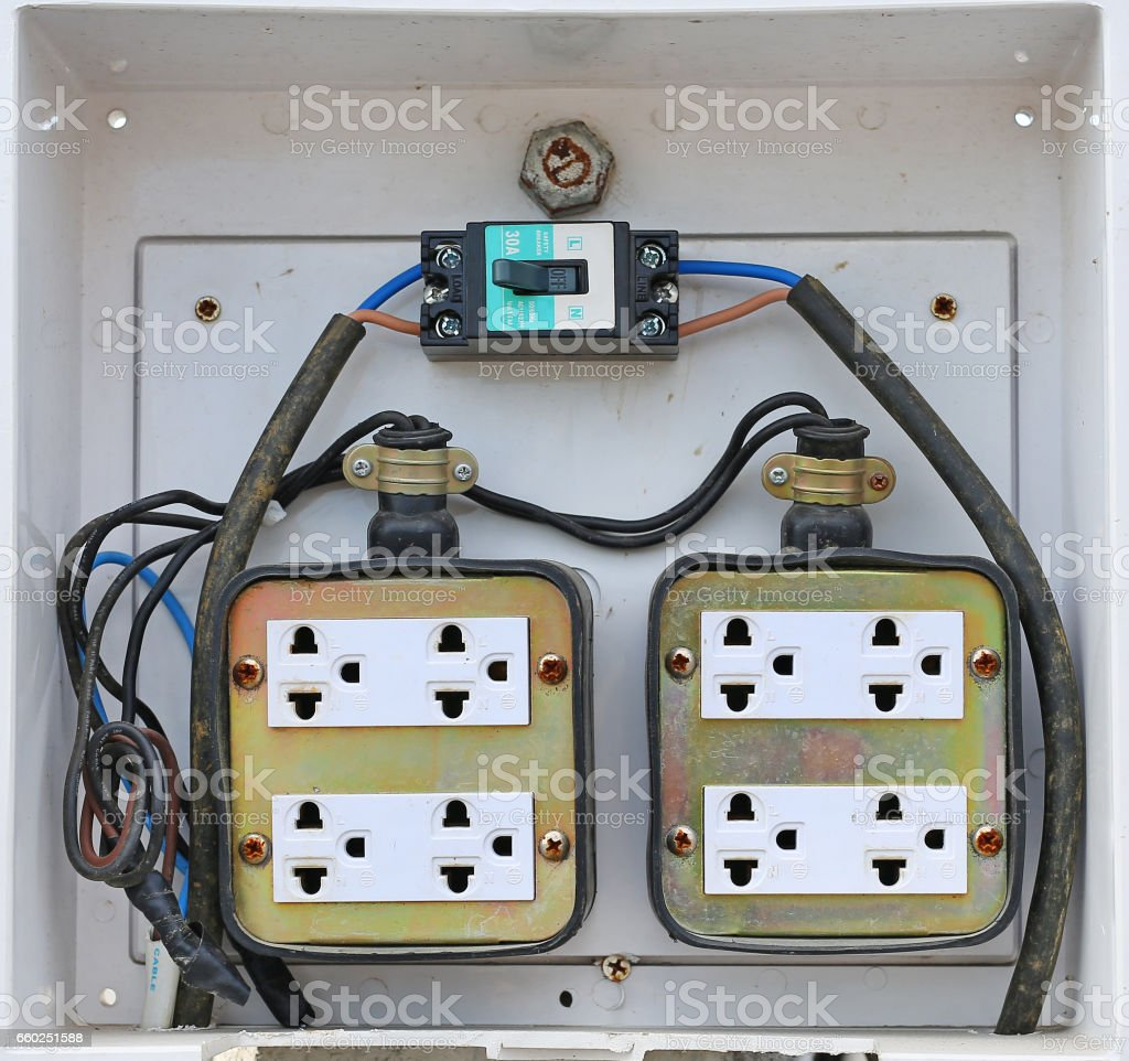Old public plug socket at outdoor stock photo