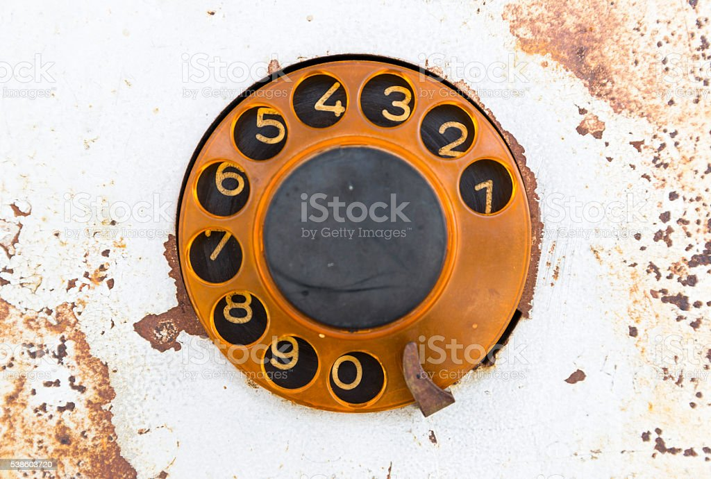 Old public rotary phone stock photo