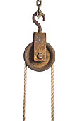 Old pulley with rope