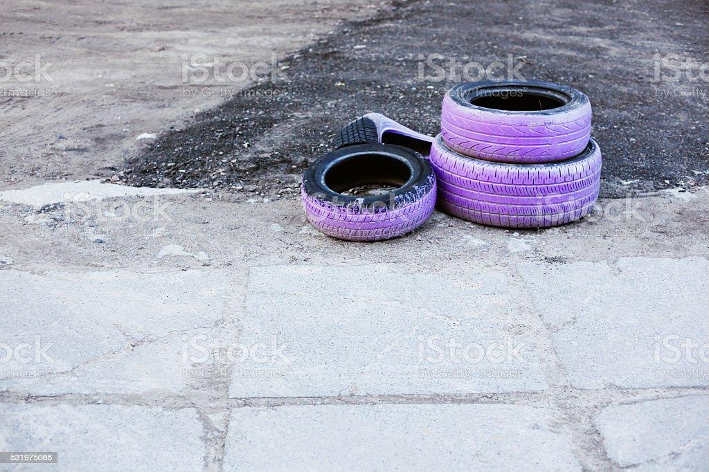 Old purple tires stock photo