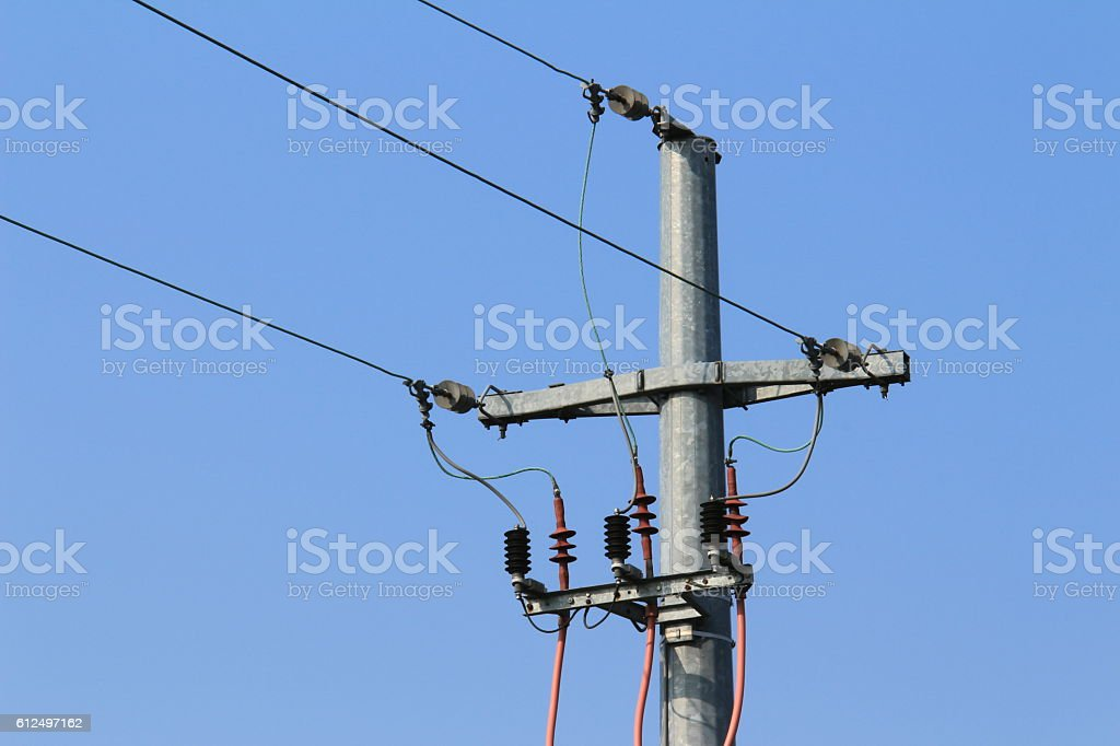 Old pylon power of high tension stock photo