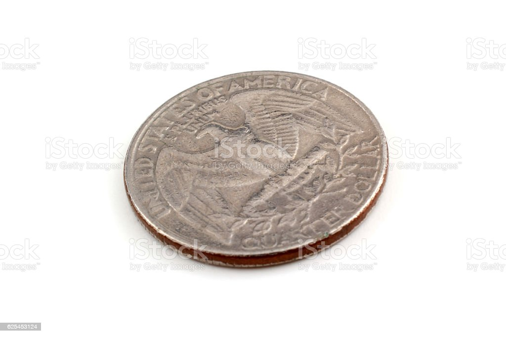 Old quarter coin stock photo