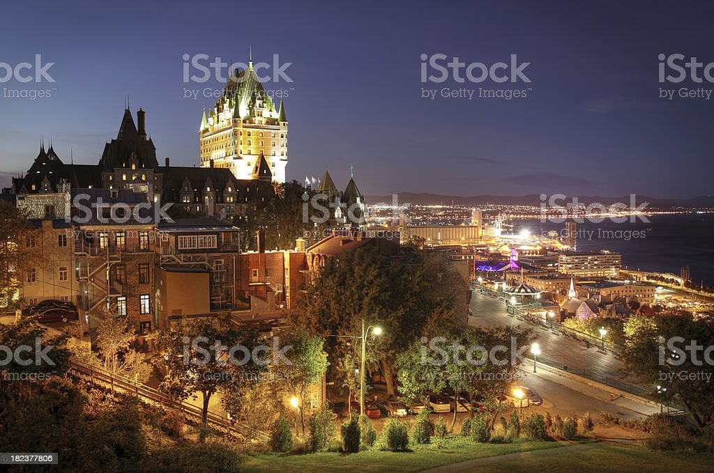Old Quebec City at Night royalty-free stock photo