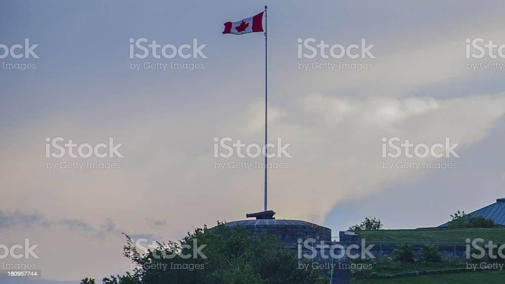 Old Quebec City, Canadian flag, Canada. royalty-free stock photo
