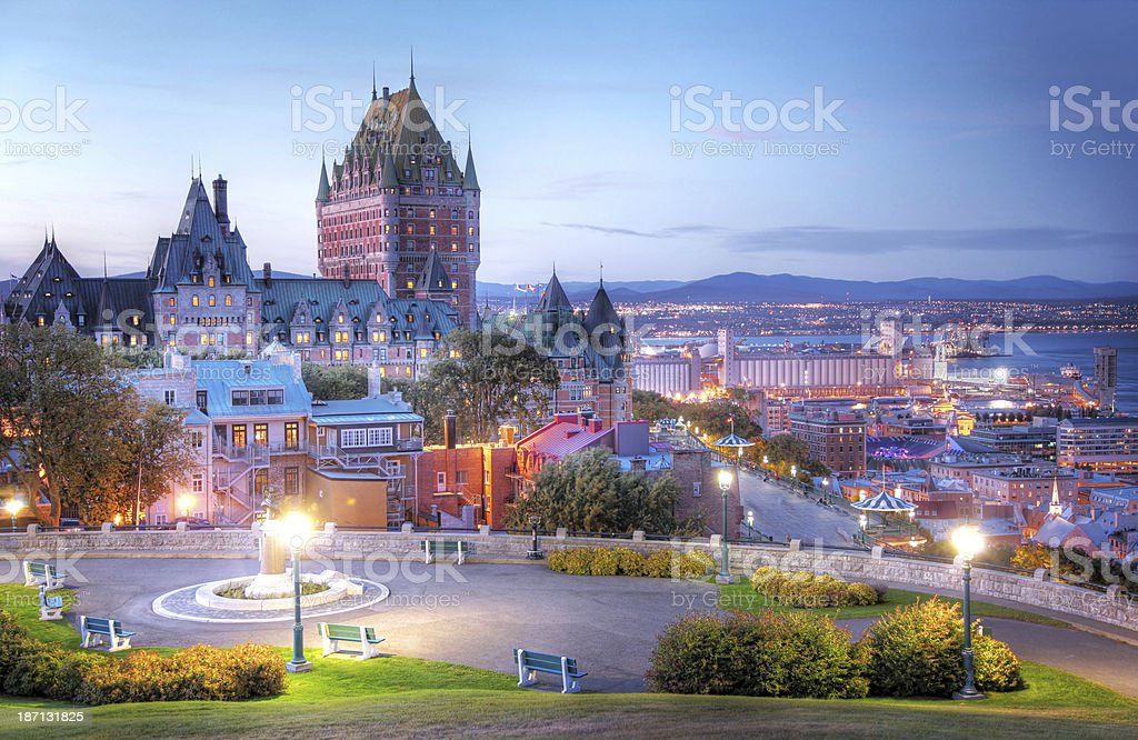 Old Quebec City Colorful Sunset stock photo