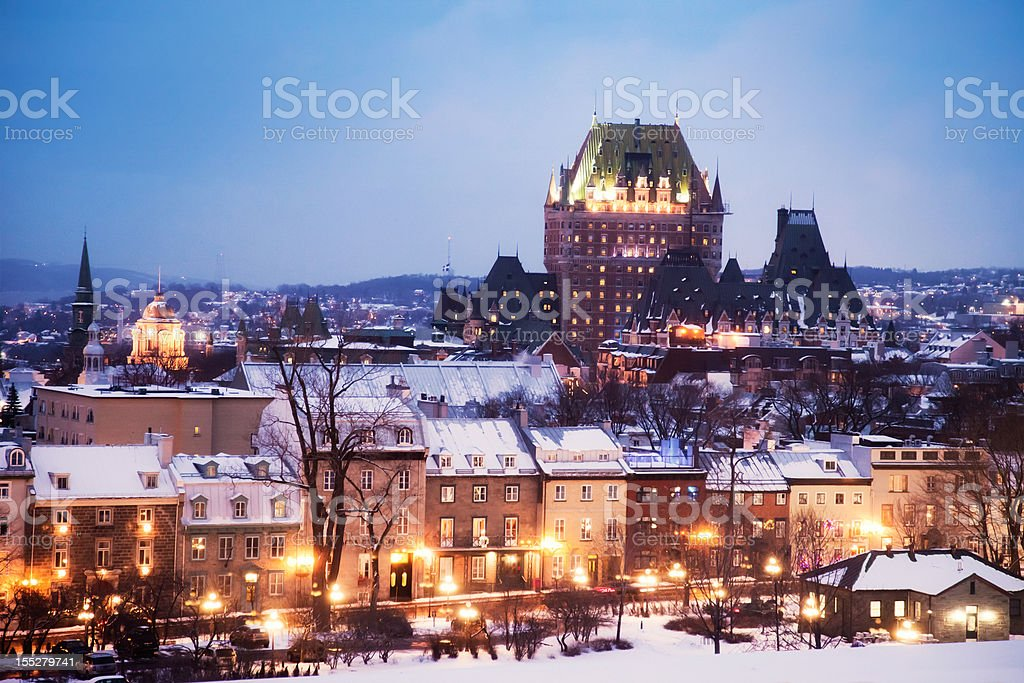 Old Quebec City on a winter night stock photo