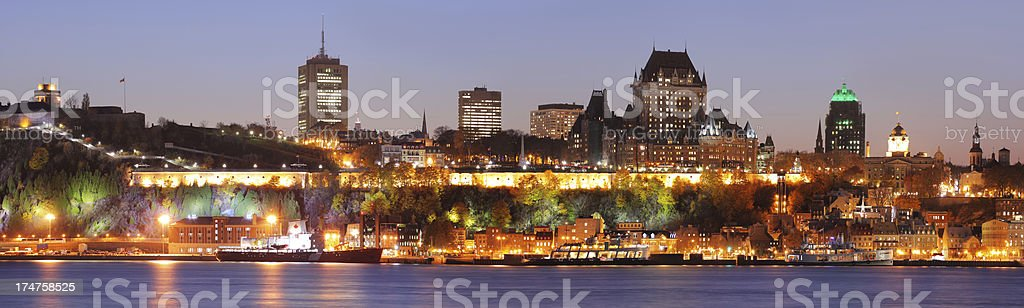 Old Quebec City Panorama at Sunset stock photo