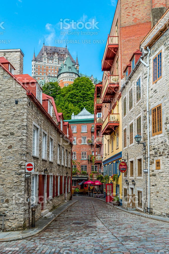 Old Quebec street view stock photo