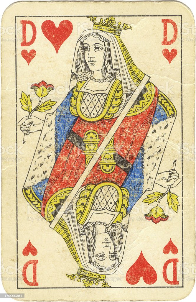 Old queen of hearts royalty-free stock photo