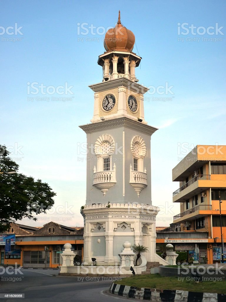 Old Queen Victoria Memorial Clock Tower in  Malaysia stock photo