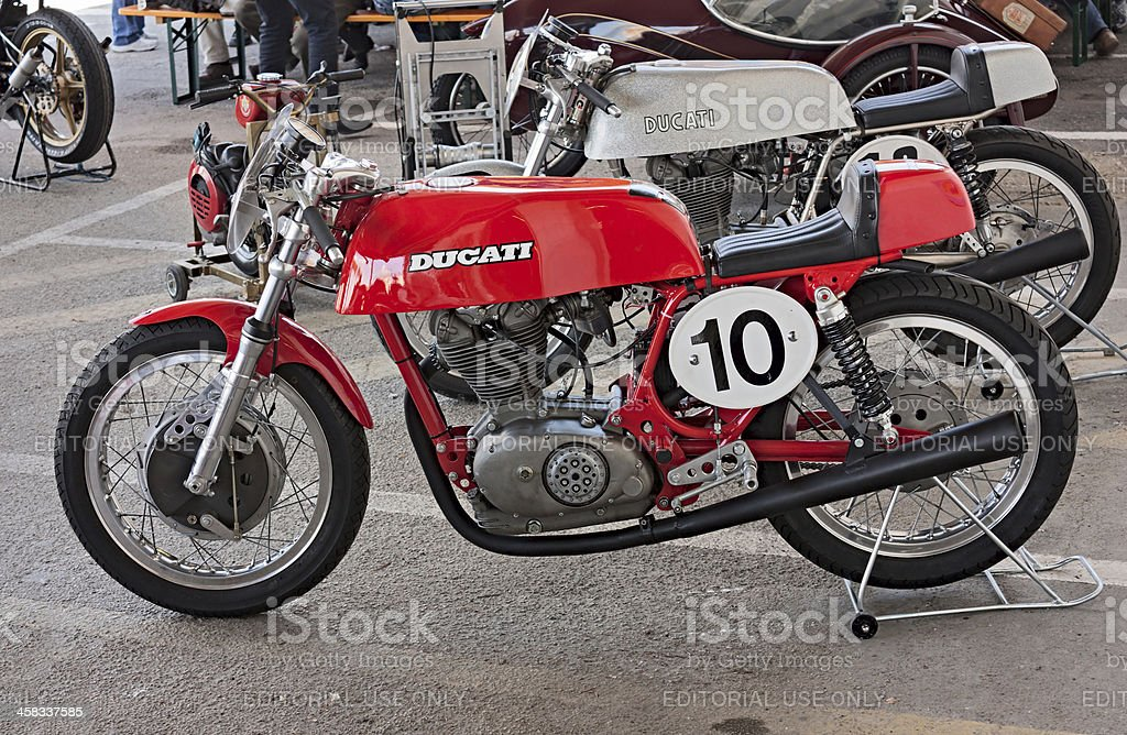 old racing motorcycle Ducati stock photo