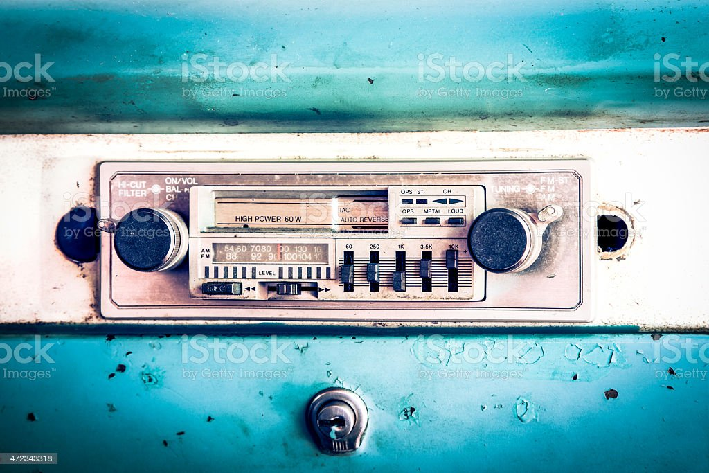 old radio in vintage car stock photo