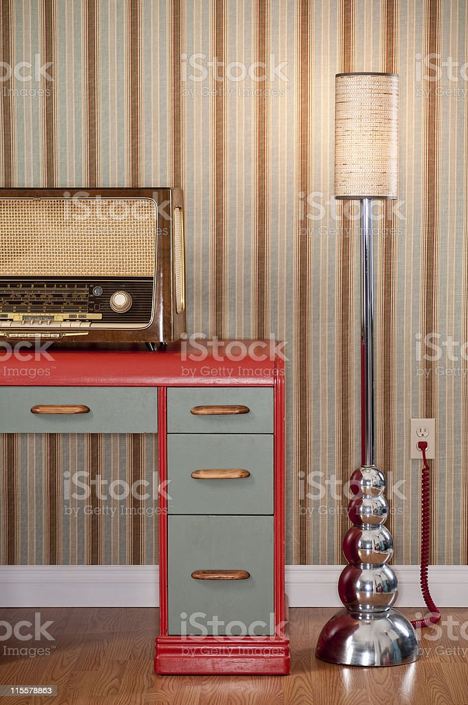 Old Radio On Retro Desk stock photo