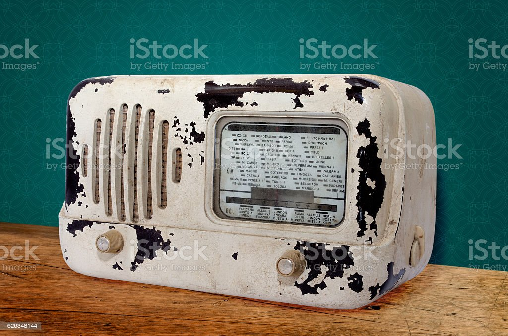 Old radio on the table royalty-free stock photo