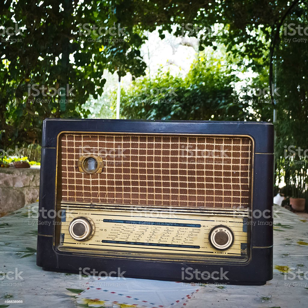 Old radio outdoors . stock photo
