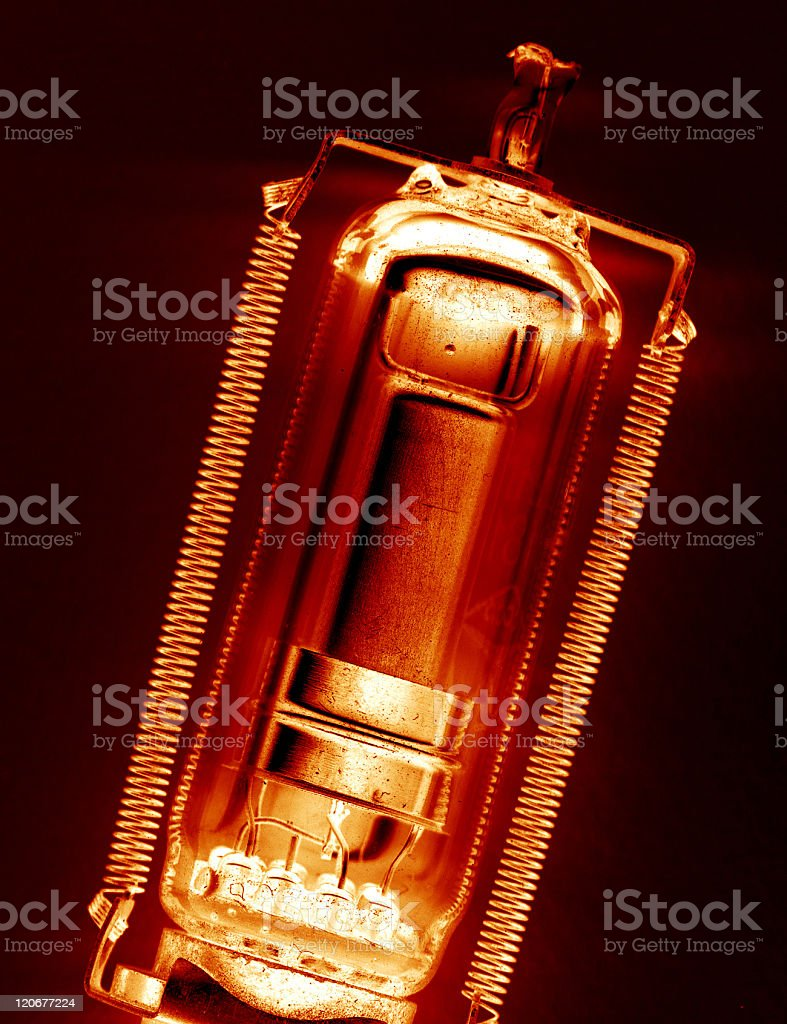 Old radio valve. stock photo
