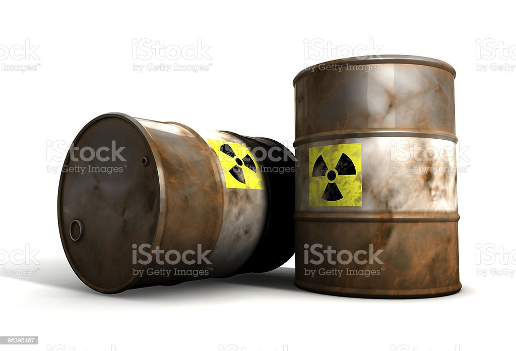 Old radioactive Barrels royalty-free stock photo