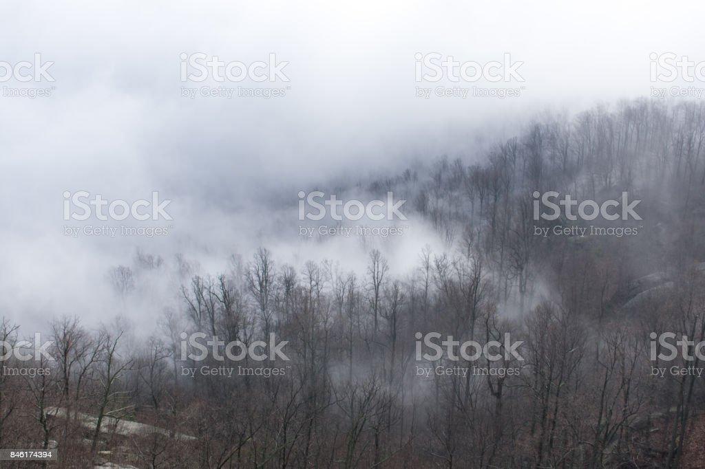 Old Rag Mountain & Mist stock photo