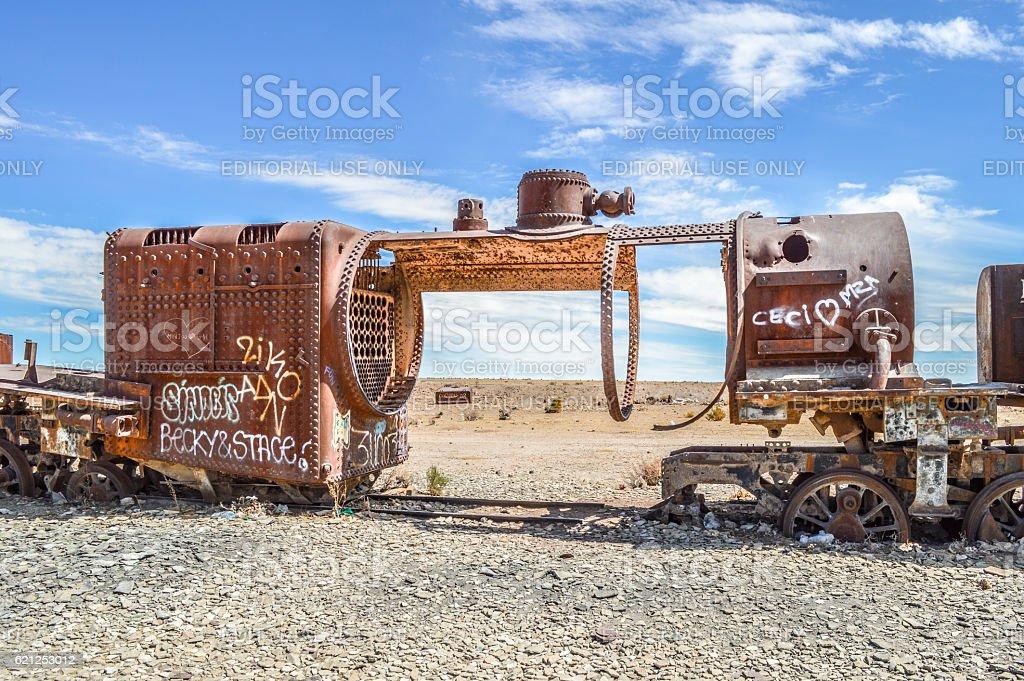 Old rail cars in Salar de Uyuni - Bolivia stock photo