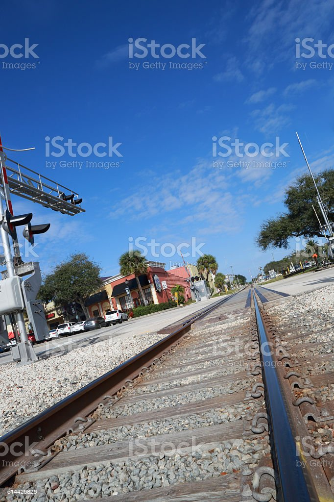 Old rail crossing downtown Melbourne, Florida stock photo