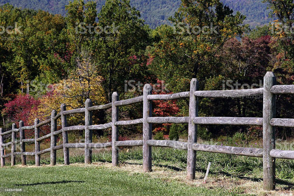 Old Rail Pasture Fencing royalty-free stock photo