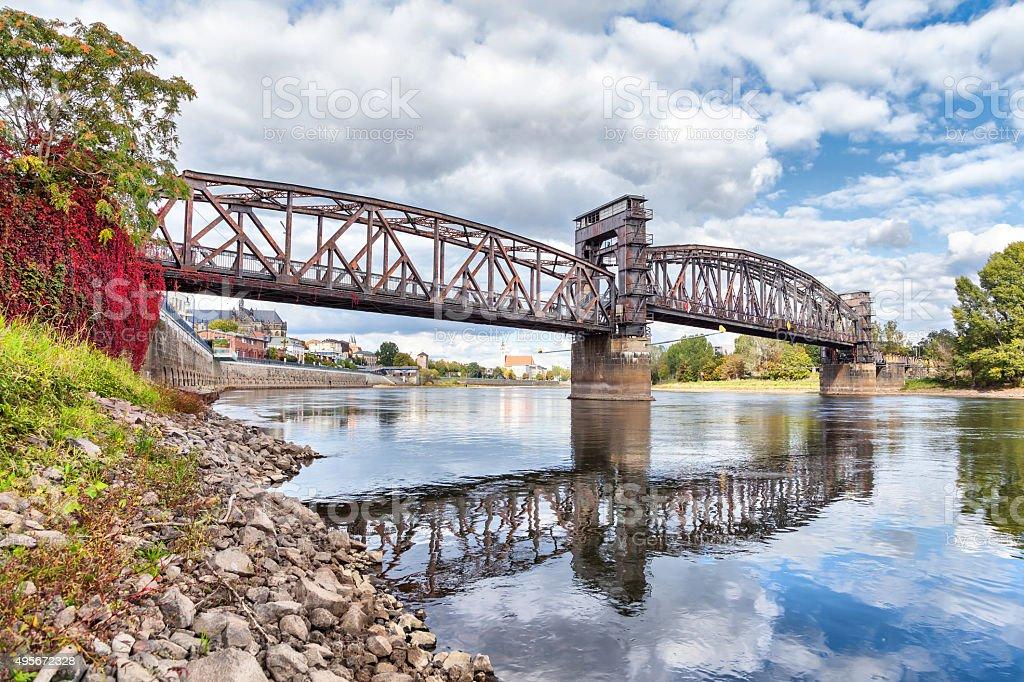 Old railroad bridge in Magdeburg stock photo