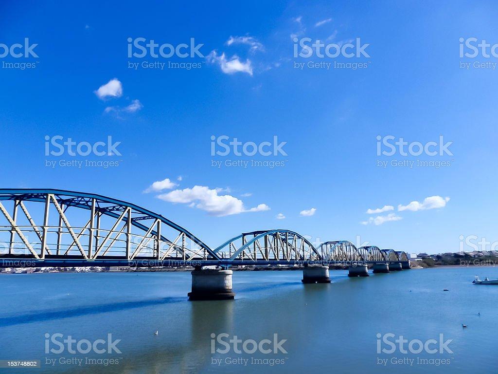 Old railroad bridge in Portimao, Algarve Portugal royalty-free stock photo