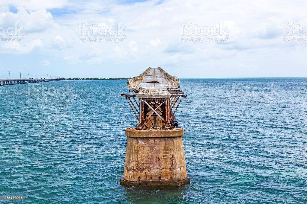 old Railroad Bridge on the Bahia Honda Keys stock photo