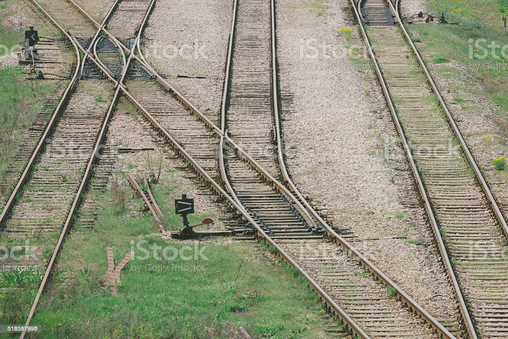 Old railroad junction viewed from high angle stock photo