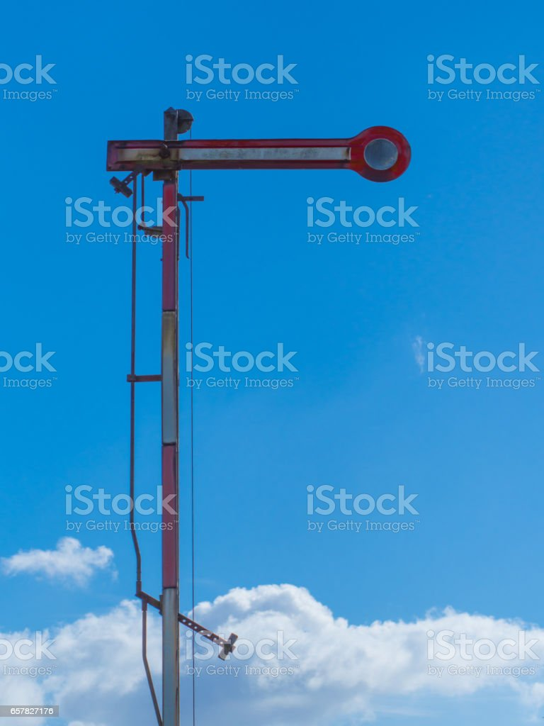 old railroad signal stock photo