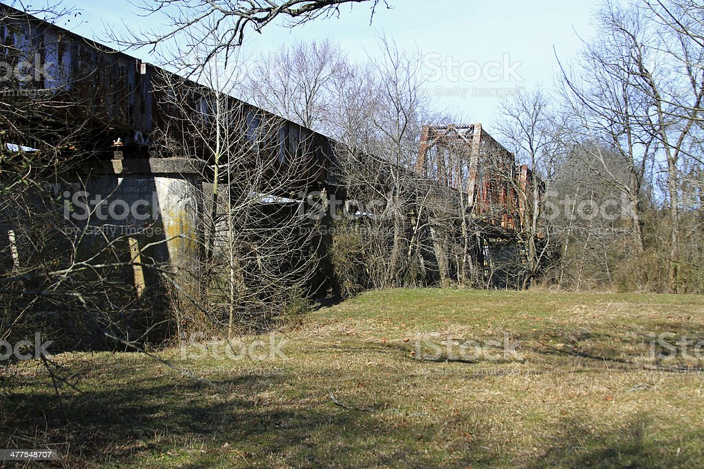 Old railroad trussell. stock photo