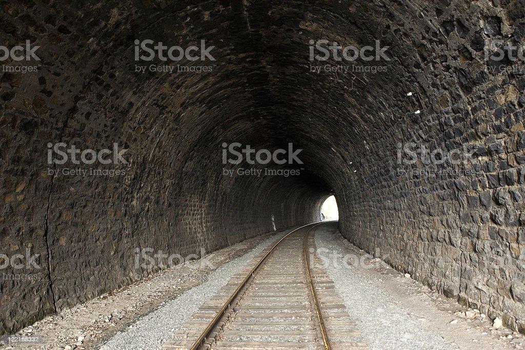 old railroad tunnel stock photo