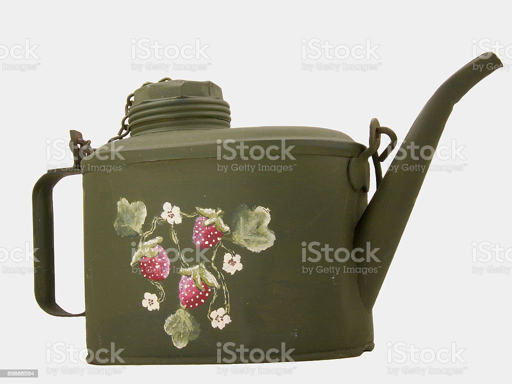 Old Railroader's Oiling Can With handpainted Strawberries, Leafs,  And Blossoms royalty-free stock photo