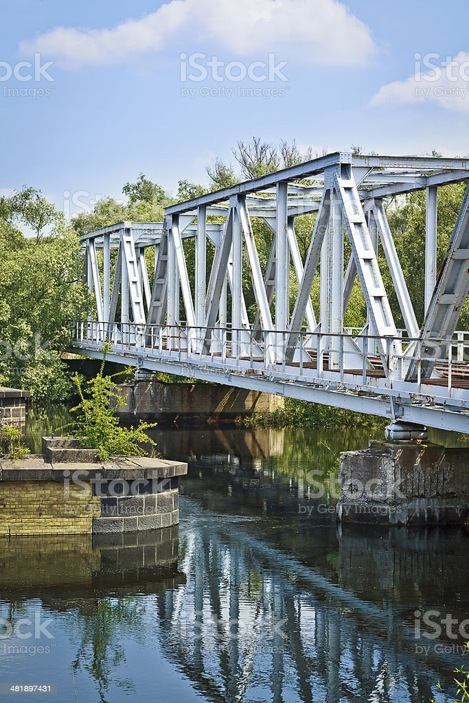 Old railway bridge on Odra river royalty-free stock photo