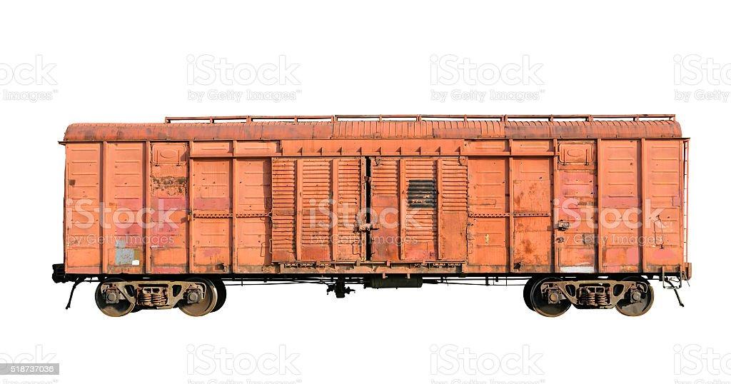 Old railway cargo wagon stock photo