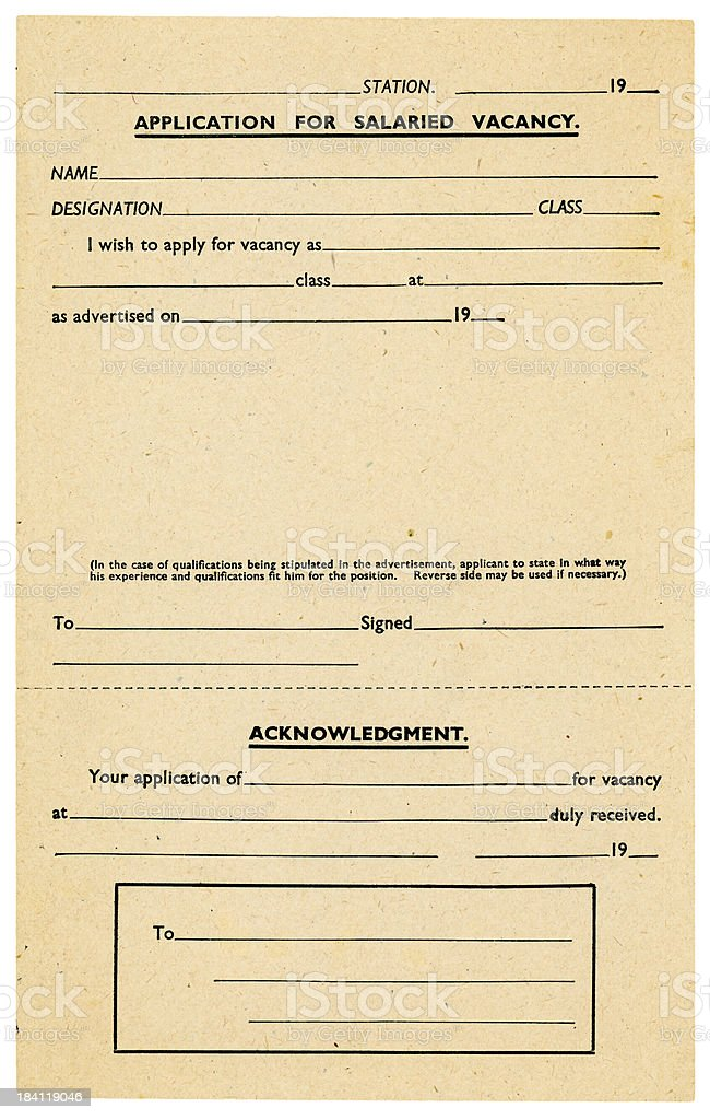 Old railway company application form stock photo