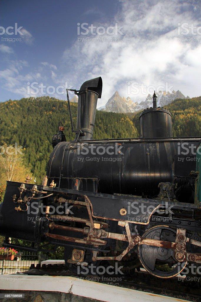 Old Railway Train seen in Chamonix, France stock photo