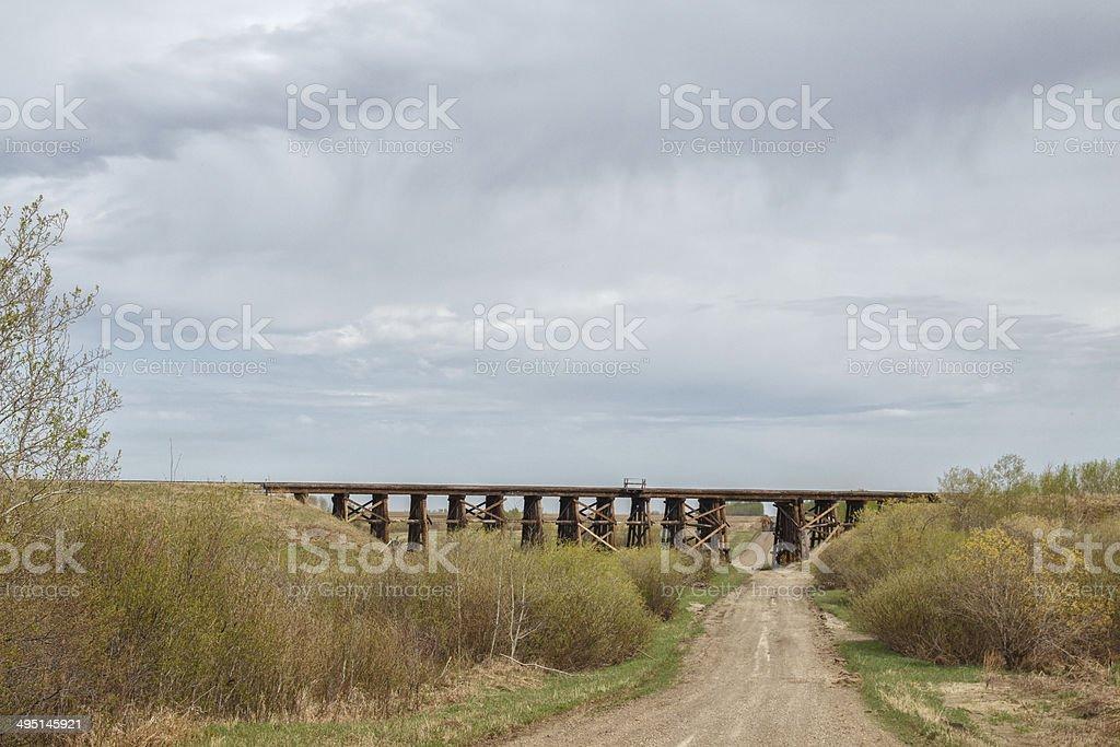 Old railway trestle stock photo