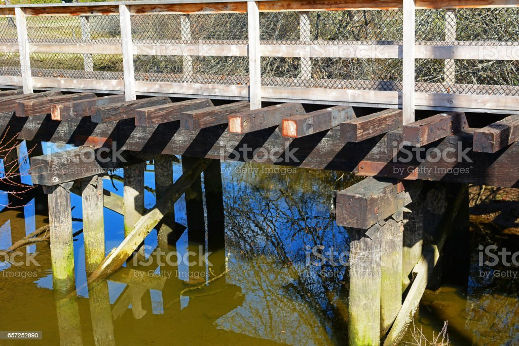 Old railway trestle stock photo