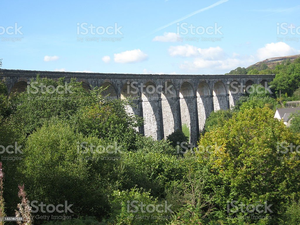 old railway viaduct in South Wales stock photo