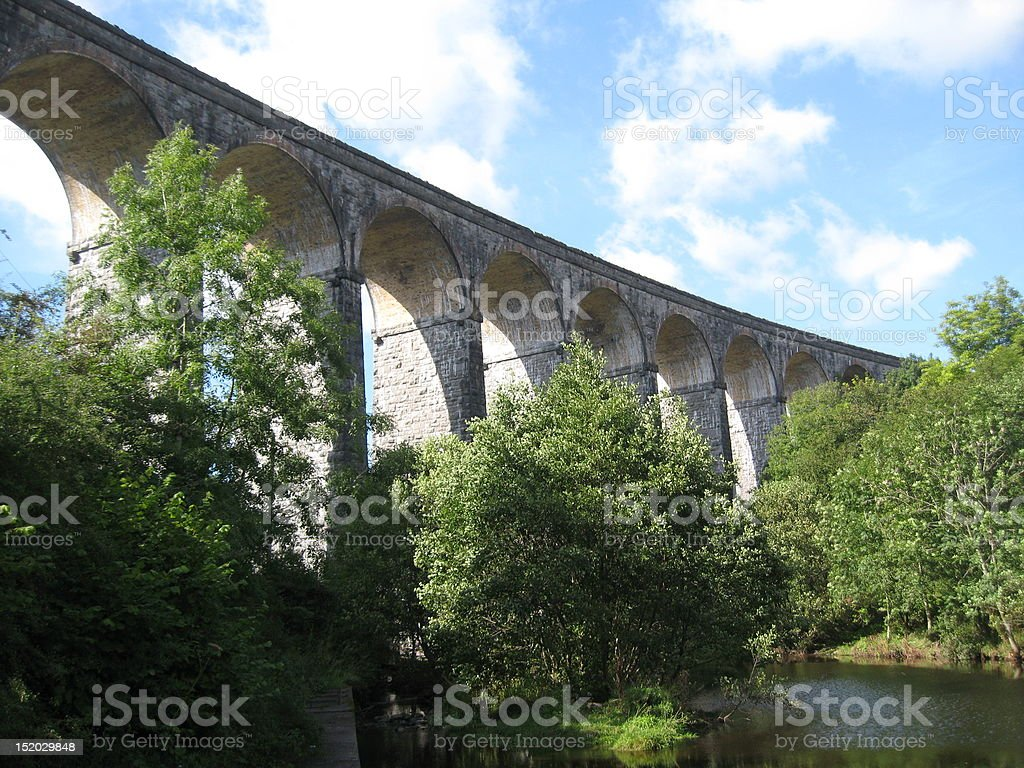 old railway viaduct in the valleys of South Wales stock photo