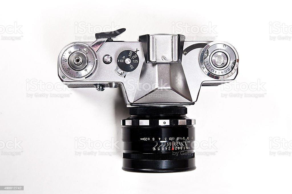 Búsqueda de intervalo de cámara de foto de época sobre fondo blanco. foto de stock libre de derechos