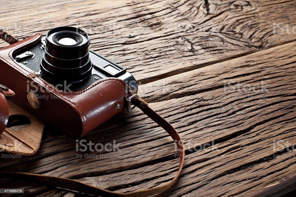 Old rangefinder camera. stock photo