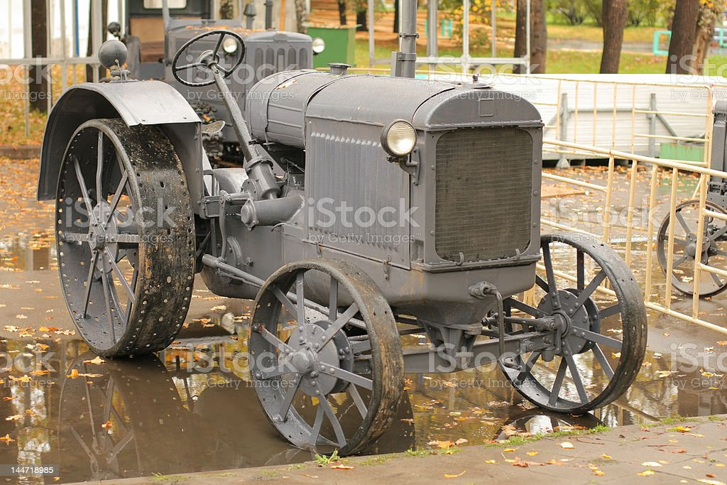 Old rarity tractor stock photo